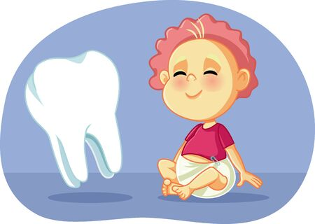 Cute Baby with Big Teeth Vector Cartoon Illustration Vektorové ilustrace
