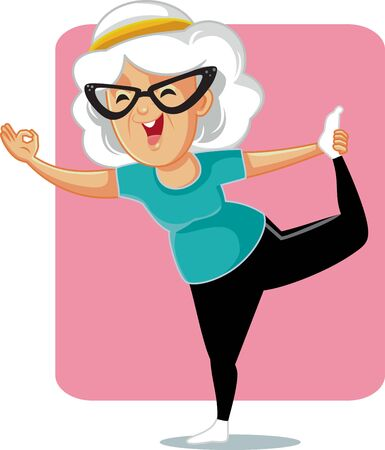 Senior Lady in Yoga Pose Vector Cartoon Stock Illustratie