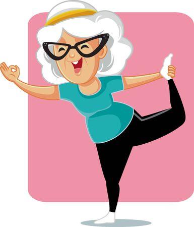 Senior Lady in Yoga Pose Vector Cartoon Vettoriali