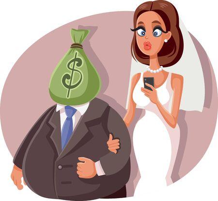 Gold Digger Marrying Sugar Daddy Vector Cartoon