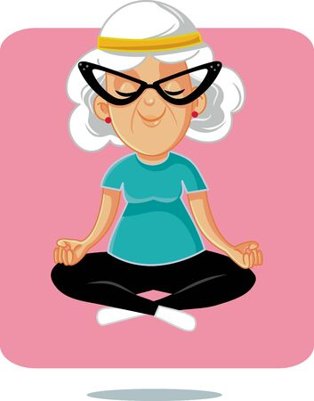 Abuelita de yoga mayor feliz en postura de loto