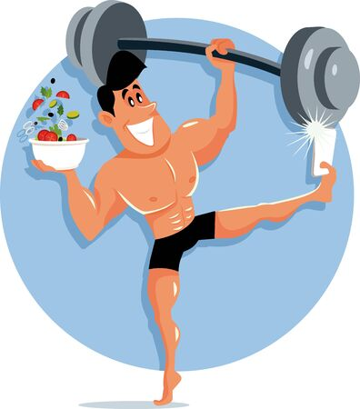 Fitness Influencer Taking a Selfie With Salad and Dumbbell