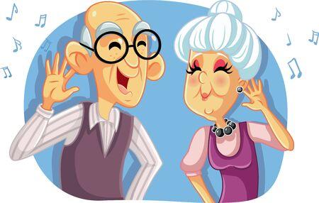 Old Senior Couple Listening to Music Vector Cartoon Vetores