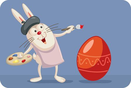 Artist Bunny Painting Easter Egg Vector Cartoon Reklamní fotografie - 141941136