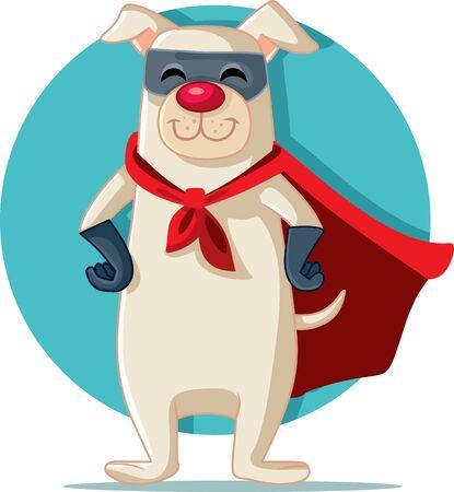 Superhero Dog Vector Cartoon Funny Character Vetores