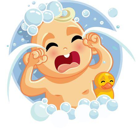Cute Sad Baby Crying at Bath Time Illustration