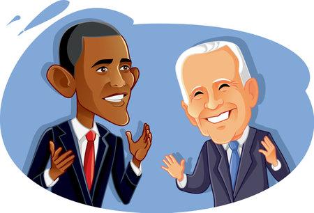 Washington¸ USA, March 14, Barak Obama and Joe Biden Vector Caricature Publikacyjne