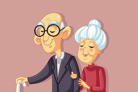 Vector Senior Couple Walking Together Illustration