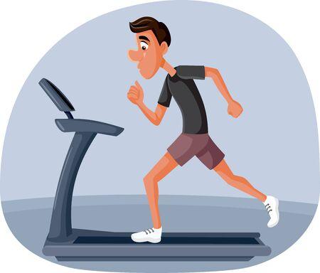 Man Exercising at Home Running on Treadmill Vector Cartoon