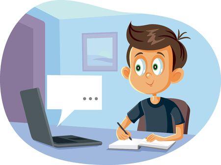 Student in Digital Homeschool Online Class Program Cartoon Ilustración de vector