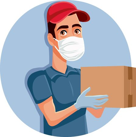 Delivery Man Wearing Protective Mask and Gloves Vector Illustration