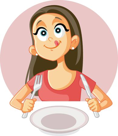 Funny Foodie Girl Craving a Good Meal in a Restaurant Ilustrace