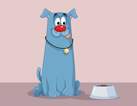 Funny Dog with Tongue Out Craving for Food Cartoon
