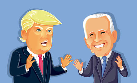 Donald Trump Versus Joe Biden Vector Caricature Sajtókép