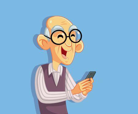 Senior Old Man Using Smartphone Cartoon Character