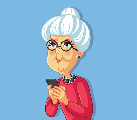 Senior Old Woman Using Smartphone Cartoon Character