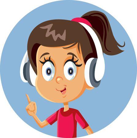 Cheerful Cartoon Girl Wearing Headphones Pointing Finger Ilustrace