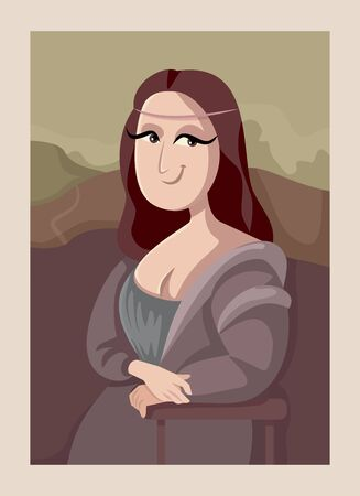 Gioconda Mona Lisa Cartoon Style Vector Illustration