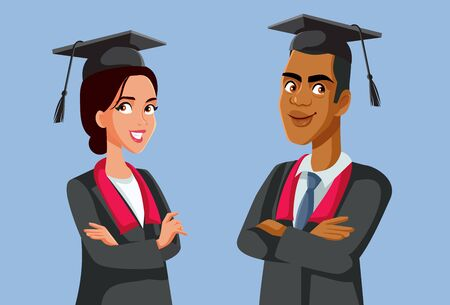 Two Graduate Students in Robes Vector Characters