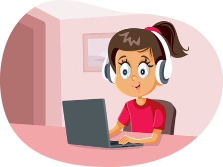 Cartoon Girl Wearing Headphones Using Laptop Ilustración de vector