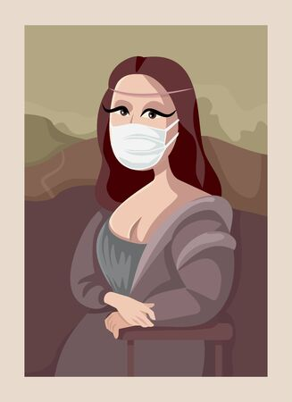 Mona Lisa Wearing Medical Face Mask in the Museum