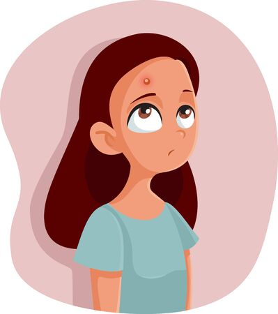 Sad Teenage Girl Having a Pimple Vector Cartoon