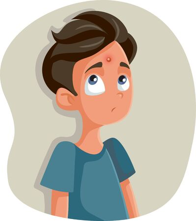Sad Teenage Girl Having a Pimple Vector Cartoon