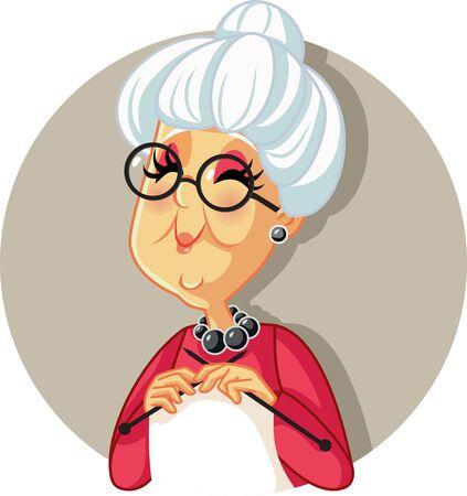 Funny Vector Cartoon Granny Knitting