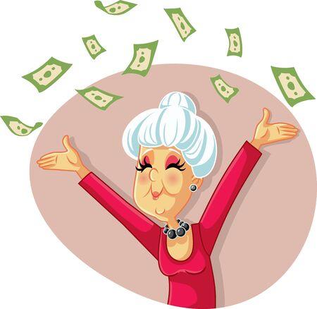 Funny Retired Senior Woman Throwing with Money Vektorové ilustrace