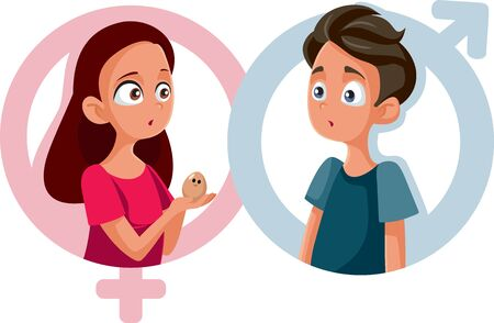 Boy and Girl in Sexual Education Class Vector Cartoon