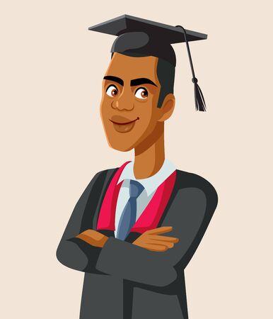 Afro American Male Graduate Student Vector Vektoros illusztráció