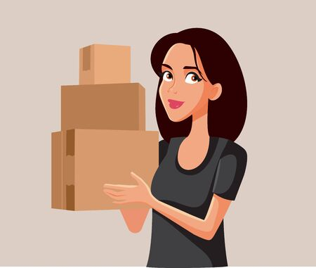 Cute Woman Holding Cardboard Boxes Vector Cartoon