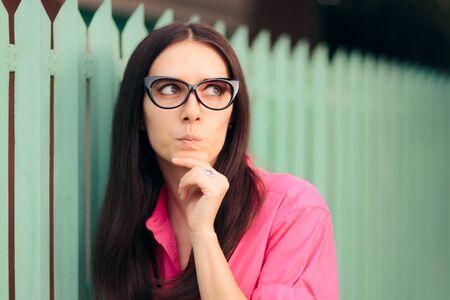 Funny Wearing Retro Glasses Girl Thinking