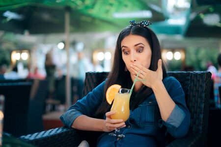 Nauseated Woman Drinking Lemonade Feeling Sick