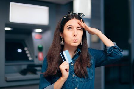 Woman in Front of ATM Machine Forgetting PIN Number Standard-Bild