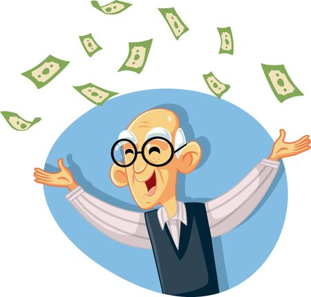 Funny Retired Senior Man Throwing Money