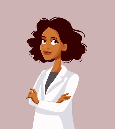 Afro American Female Doctor With Arms Crossed Vector Character Illustration