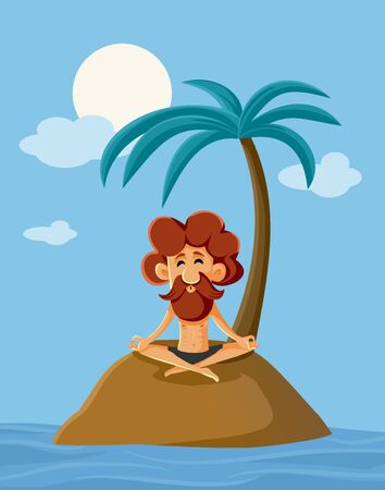 Lonely Man on a Deserted Island Vector Cartoon Illustration