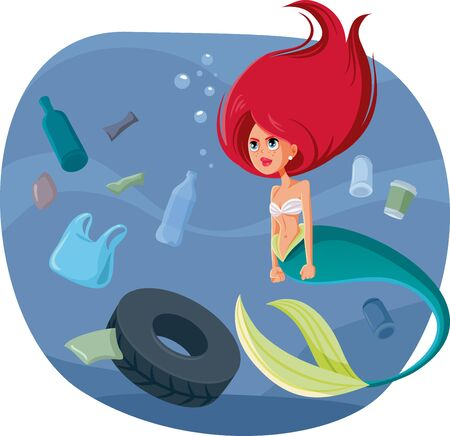 Angry Mermaid Surrounded by Garbage in Polluted Ocean