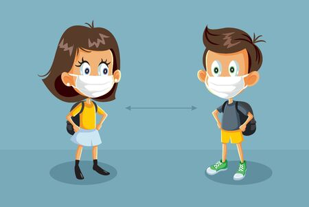 Students Back to School During Health Crisis Illustration Illustration