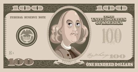 One Hundred Dollar Bill with Benjamin Franklin Cartoon