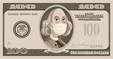 One Hundred Dollars Bill with Benjamin Franklin Wearing Surgical Mask