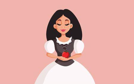 Princess Holding Red Apple Vector Cartoon Illustration
