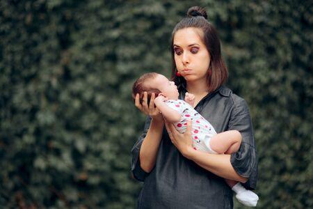 Stressed Mom Holding Newborn Baby Outdoors