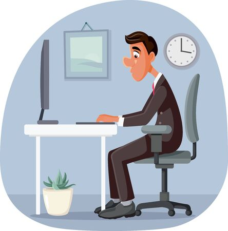 Businessman Working at The Office Vector Illustration