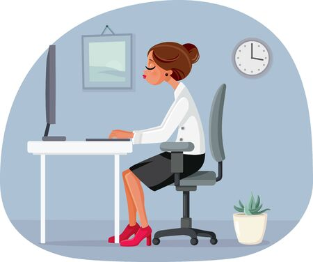 Business Woman Working at The Office Vector Illustration