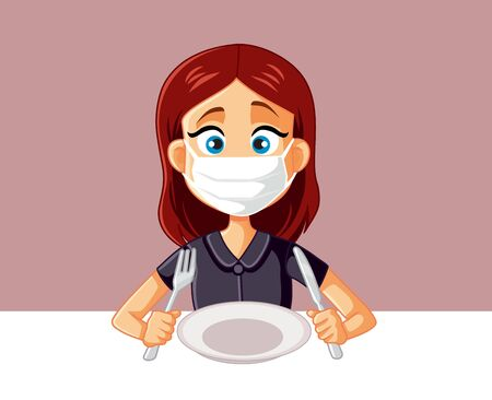Woman Wearing Medical Face Mask at The Restaurant Vector Illustration