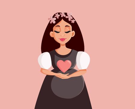 Beautiful Pregnant Woman With Floral Wreath Vector Illustration