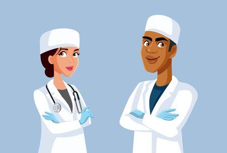 Team Of Smiling MD Doctors Vector Cartoon Illustration Illustration