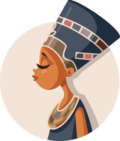 Egyptian Queen Nefertiti Vector Cartoon Illustration Illustration